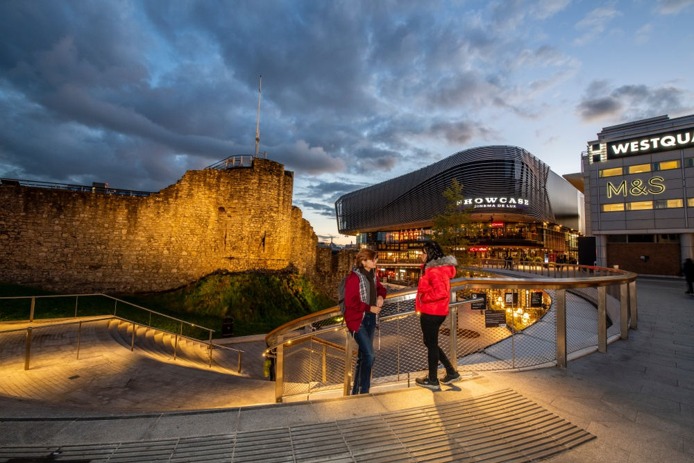 West Quay shopping centre and the old city walls